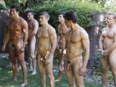 Naked guys group shower